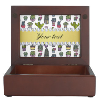 Cactus Faux Gold Bling Diamonds Keepsake Box