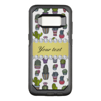 Cactus Faux Gold Bling Diamonds OtterBox Commuter Samsung Galaxy S8 Case