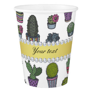 Cactus Faux Gold Bling Diamonds Paper Cup