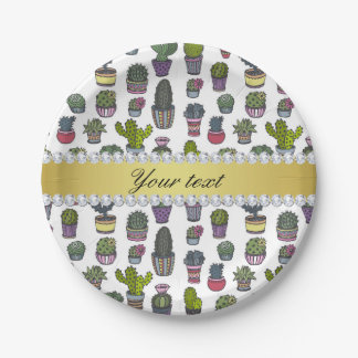 Cactus Faux Gold Bling Diamonds Paper Plate