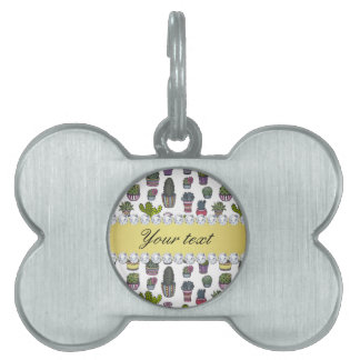 Cactus Faux Gold Bling Diamonds Pet Name Tag