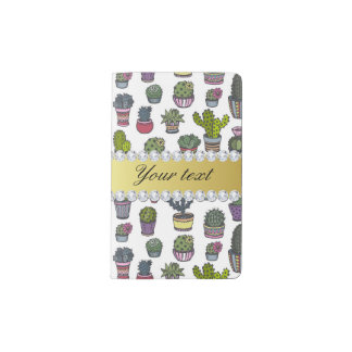 Cactus Faux Gold Bling Diamonds Pocket Moleskine Notebook