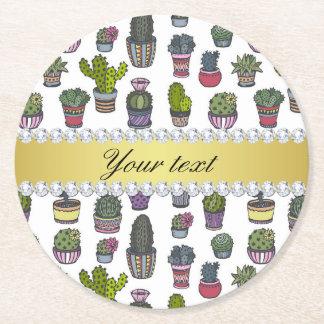 Cactus Faux Gold Bling Diamonds Round Paper Coaster