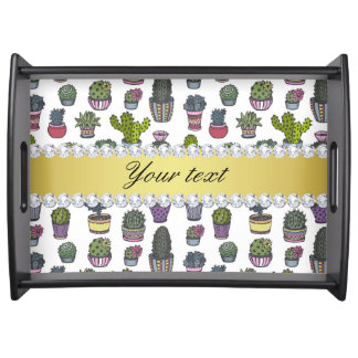 Cactus Faux Gold Bling Diamonds Serving Tray
