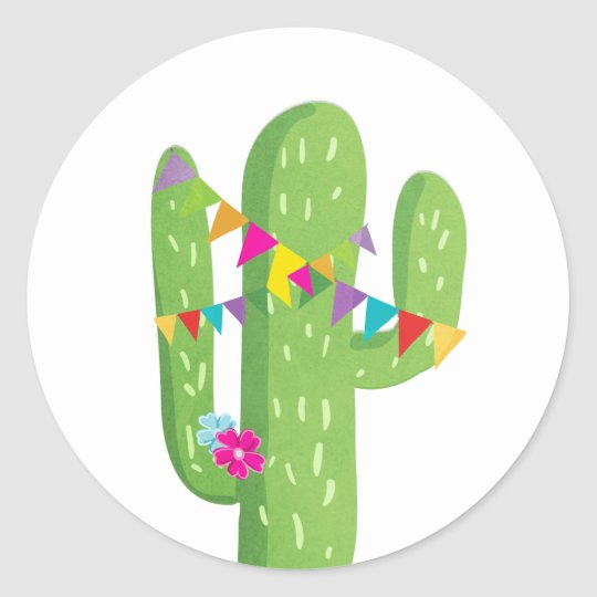 Cactus fiesta favour tag Sticker Mexican party