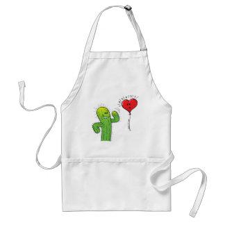 Cactus Flirting with a Heart Balloon Standard Apron