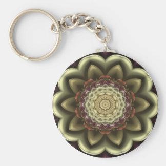 Cactus Flower Kaleidoscope Mandala Basic Round Button Key Ring