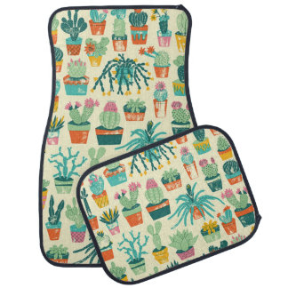 Cactus Flower Pattern Car Floor Mat