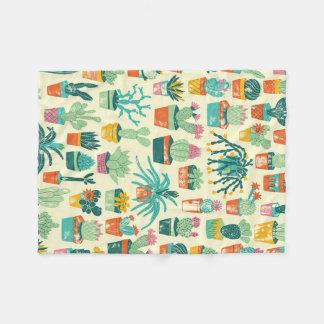 Cactus Flower Pattern Fleece Blanket