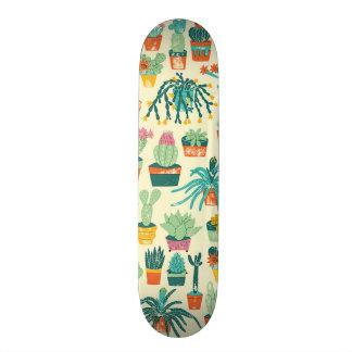 Cactus Flower Pattern Skateboard Deck