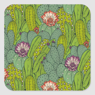 Cactus Flower Pattern Square Sticker