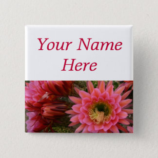 Cactus flower pin-back name tag 15 cm square badge