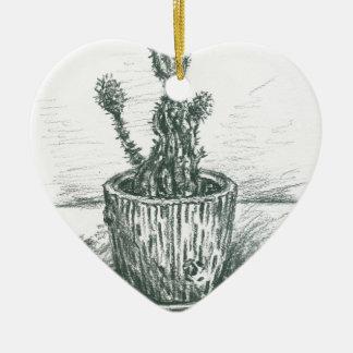 cactus, flowers, nature , plants , pot, magic ceramic heart decoration