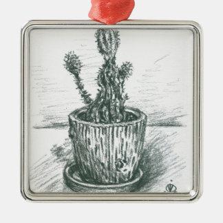 cactus, flowers, nature , plants , pot, magic Silver-Colored square decoration