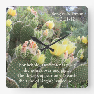 Cactus Flowers Song of Solomon Wall Clock