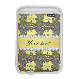 Cactus Frame Pattern Faux Gold Foil Bling Diamonds iPad Mini Sleeves