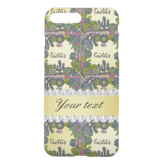 Cactus Frame Pattern Faux Gold Foil Bling Diamonds iPhone 7 Plus Case