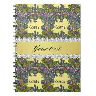 Cactus Frame Pattern Faux Gold Foil Bling Diamonds Notebook