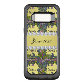 Cactus Frame Pattern Faux Gold Foil Bling Diamonds OtterBox Commuter Samsung Galaxy S8 Case