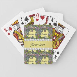 Cactus Frame Pattern Faux Gold Foil Bling Diamonds Poker Deck
