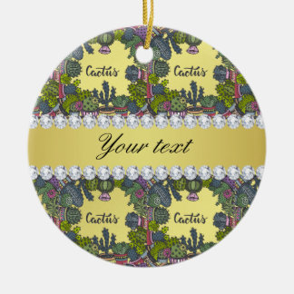 Cactus Frame Pattern Faux Gold Foil Bling Diamonds Round Ceramic Decoration