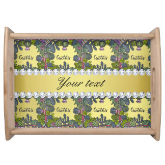 Cactus Frame Pattern Faux Gold Foil Bling Diamonds Serving Tray