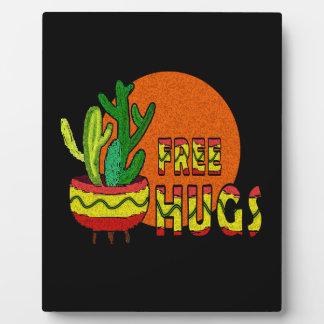 Cactus - free hugs plaque