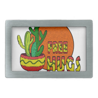Cactus - free hugs rectangular belt buckle