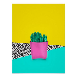 Cactus Fries 90s Style Poster