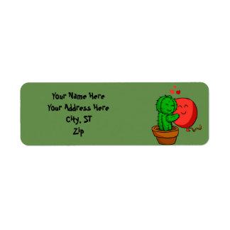 Cactus hugging balloon return address label