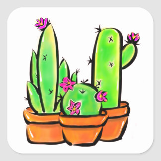Cactus joy - warm hue square sticker