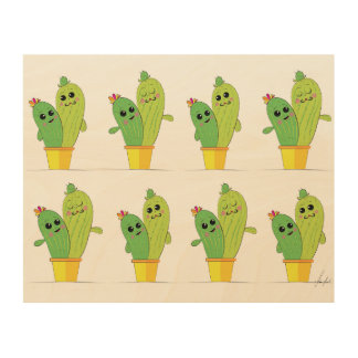 cactus lovers wood print