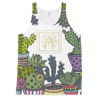 Cactus Monogram A All-Over Print Singlet