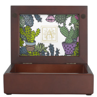 Cactus Monogram A Keepsake Box