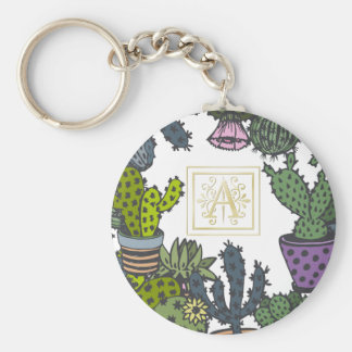 Cactus Monogram A Key Ring