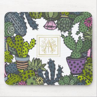 Cactus Monogram A Mouse Pad