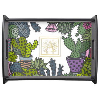 Cactus Monogram A Serving Tray
