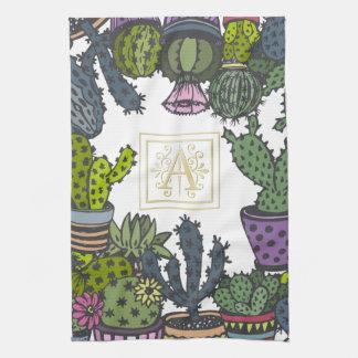 Cactus Monogram A Tea Towel