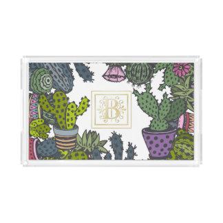 Cactus Monogram B Acrylic Tray