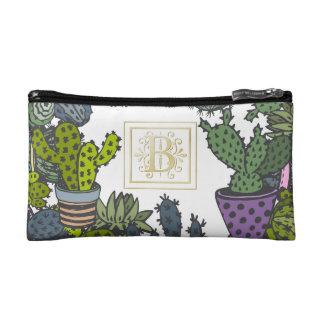 Cactus Monogram B Cosmetic Bags