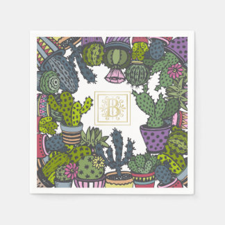 Cactus Monogram B Disposable Napkins