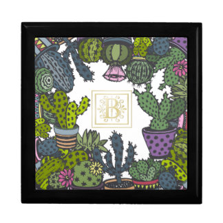 Cactus Monogram B Large Square Gift Box