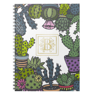Cactus Monogram B Spiral Notebook