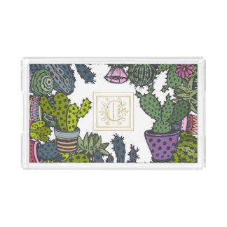 Cactus Monogram C Acrylic Tray