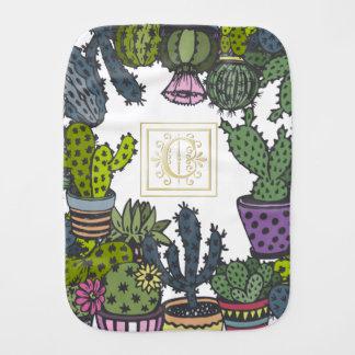 Cactus Monogram C Burp Cloth