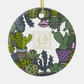 Cactus Monogram C Ceramic Ornament