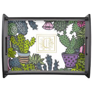 Cactus Monogram C Serving Tray