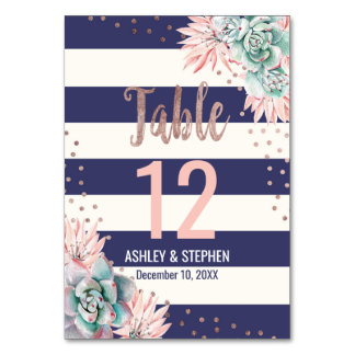 Cactus Navy Stripes Rose Gold Table Numbers Table Cards