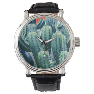 Cactus on Coral round watch
