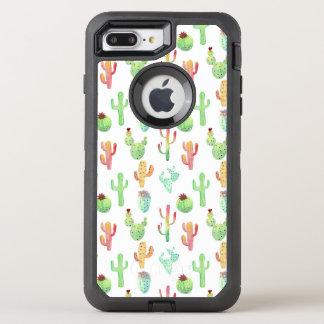 Cactus Pastel Watercolor Pattern OtterBox Defender iPhone 8 Plus/7 Plus Case